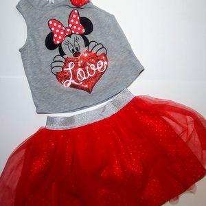 Disney Minnie Mouse shirt & scooter skirt